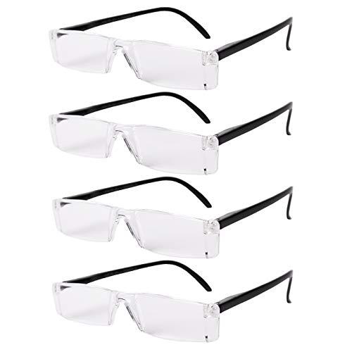 FILTRAL Lesebrille Set 4er-Pack versch. Ausführungen | Dioptrin +1.0, 1.5, 2.0, 2.5, 3.0, 3.5 | Sehhilfe Lesehilfe Brille Herren Damen (Rahmenlos/Schwarz, 1.0)