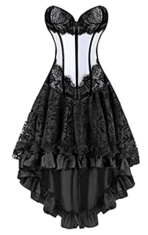 Kimring Women's 2 Pcs Elegant Vintage Victorian Satin Lace Overbust Corset with Dancing Skirt Set Grey/Black XX-Large