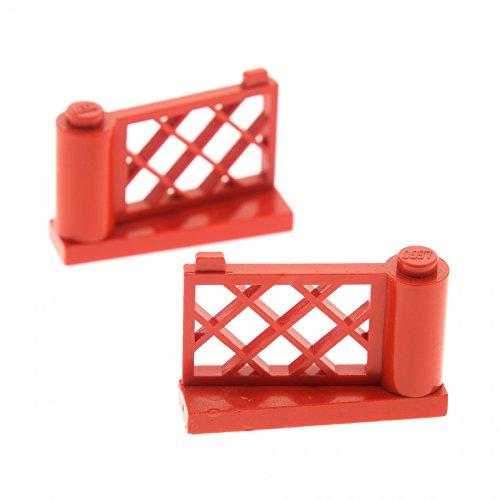 Preisvergleich Produktbild 2 x Lego System Zaun rot Gartenzaun Gartentor Gatter Zäune Oberteil 3186 Unterteil 3187