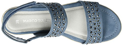 Marco Tozzi Cool Club 48204, Sandales Bout Ouvert Fille Bleu (Denim 802)