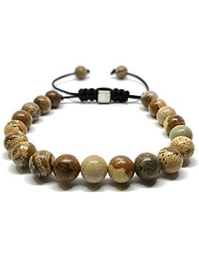 GOOD.designs Shamballa Perlenarmband aus Meeressediment Jaspis / Howlith-Natursteinen, Edelsteinarmband aus Jade