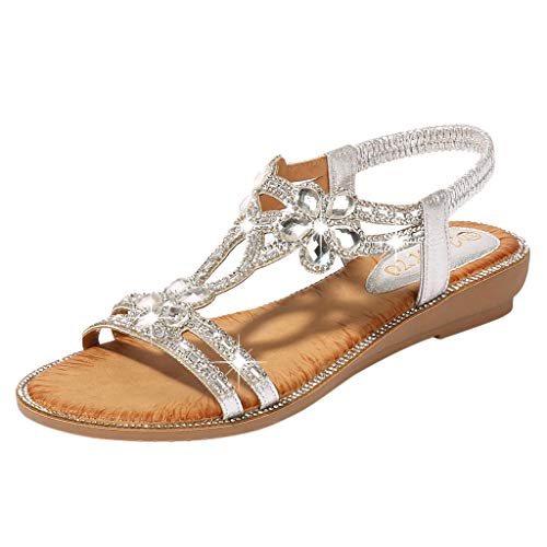 MakefortuneDamen Damen Low Wedge Heel Flatform Diamante T-Bar Slingback Sandalen Größe -