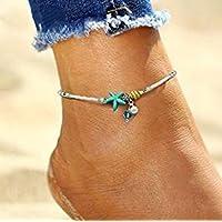 Hwiionne Ciondolo stella marina Ciondolo per riso Cavigliera Yoga Beach Anklet