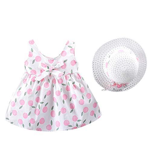 Livoral Mädchen Obst Print Prinzessin Kleid + Hut Kleinkind Kinder Baby Kostüm Set(Rosa,100) (Starker Mann Kostüm Für Kleinkind)