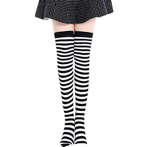 Momoxi Socken, Damen Frauen-Oberschenkel Hohe Spucke über Mädchen-Winter-Baumwollstreifen-Wärmer-weiche Baumwollsocken Frau Knie Gestreifte Strümpfe Schwarz