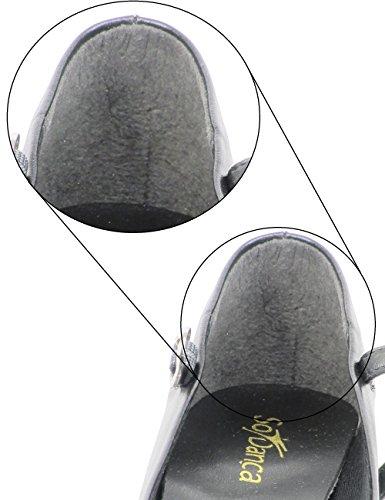 CH791 So Danca Charakterschuhe Damen Latein Salsa Rumba Trachten Tango Tanz Schuhe mit Chromledersohle, Weite M, Absatz 4 cm - mit Ansteck Button Schwarz