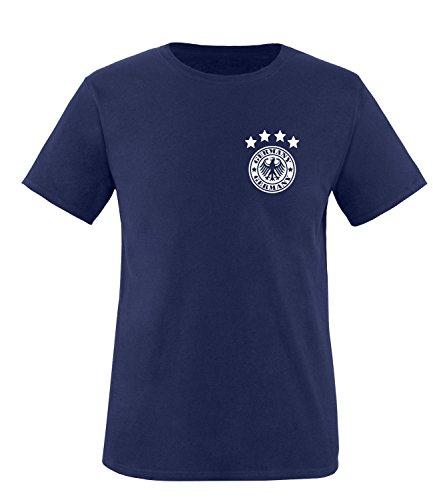 Luckja EM 2016 Trikot Deutschland Fanshirt Motiv 14 Herren Rundhals T-Shirt Navy/Weiss