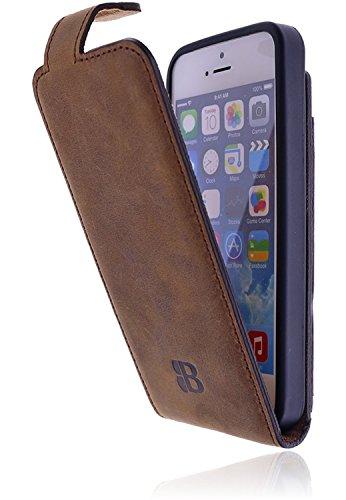 Flip Aus Leder (Burkley Premium Antik Leder Handy-Tasche für Apple iPhone SE / 5 / 5S Schutz-Hülle Flip Cover mit Kartenfach im Vintage / Retro Look in kaffee braun)