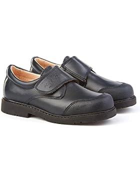 ANGELITOS Zapatos Colegiales con Puntera Reforzada Todo Piel, Mod.452. Calzado Infantil (Talla 36 - Azul Marino)