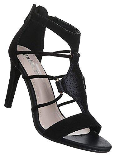 Damen Sandaletten Schuhe High Heels Pumps Stilettos Schwarz beige blau 36 37 38 39 40 41 Schwarz
