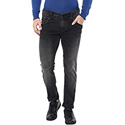 Spykar Mens Black Skinny Fit Low Rise Jeans (Actif) (40)