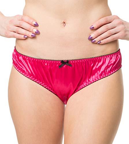 RedRose Damen Sexy Dessous Satin Rüschen Bikini Höschen Schlüpfer (Rosa, M - EUR 38-40) (Bikini-höschen)