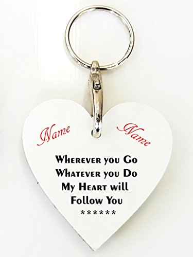 Personalised Love Heart Keyring - Follow You. Birthdays, Christmas, Wedding, Thank You. Personalised details required