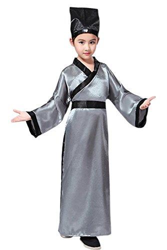 n & Mädchen Konfuzius Kostüme, alte chinesische traditionelle Kostüme, Performance Kleidung, Hanfu, Oberteile + Gürtel + Hut (Grau,EU 130 = Tag 140) (Chinesische Kostüme Für Jungen)