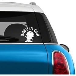 pegatinas coche bebe a bordo Señales de seguridad para su coche, etiqueta unisex lindo para su bebé (blanco)