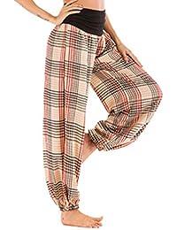 Hibote Femme Pantalon Large Classique Plaid Taille Haute Pantalon Automne  Stretch Harem Pantalons Bouffant Ceinture Elastique 542be7aa847