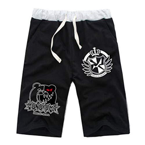 Cosstars Anime Danganronpa Monokuma Shorts Deportivos Pantalón Corto Sweat Pants para Hombre Running Jogging Negro/6 XXL