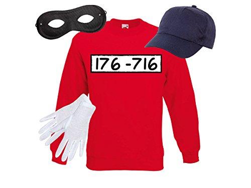 Alsino Panzerknacker Fan Kostüm Outfit Sweatshirt Maske Set Cap Handschuhe Einbrecher Bankräuber Verkleidung, Größe ()