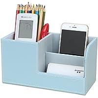 KINGFOM Multifunzionale Organizador de escritorio/Portalápices de piel/Sistema de Escritorio/Organizador de Oficina/Organizador de papelería