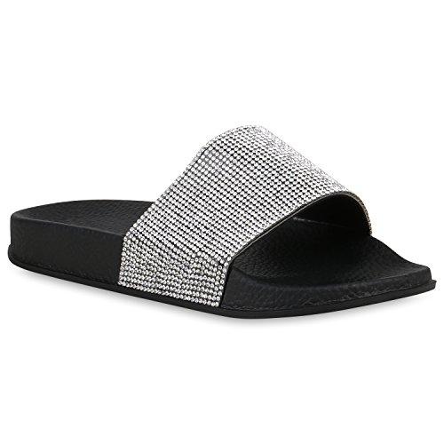 Stiefelparadies Damen Schuhe Sandaletten Pantoletten Badelatschen Strass Hausschuhe 158048 Schwarz 39 Flandell -