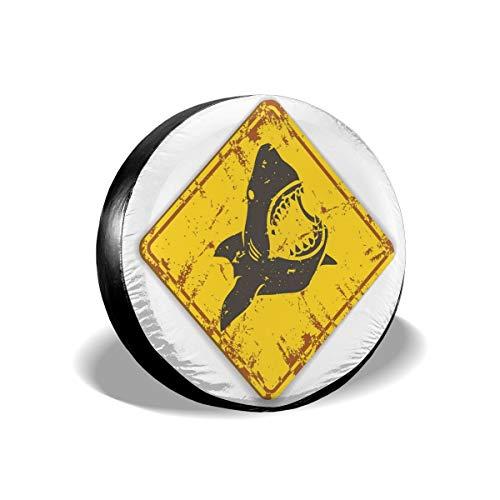 BBABYY Tire Cover Tire Cover Wheel Covers,Caution Shark Sign Sharp Teeth Animal Ocean Danger Do Not Swim Illustration,for SUV Truck Camper Travel Trailer Accessories 16 inch -