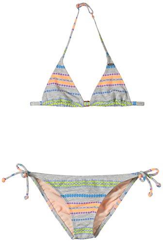 O'Neill Mädchen PG YD Stripe Triangle Bikini, White AOP W/Black, 140 - Stripe Triangle Bikini
