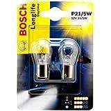 Bosch P21/5W Long Life Daytime 1987301055Double Blister Lot de 2lampes ampoules voiture 21/5W 12V Feu arrière frein lumineuses Position antibrouillard