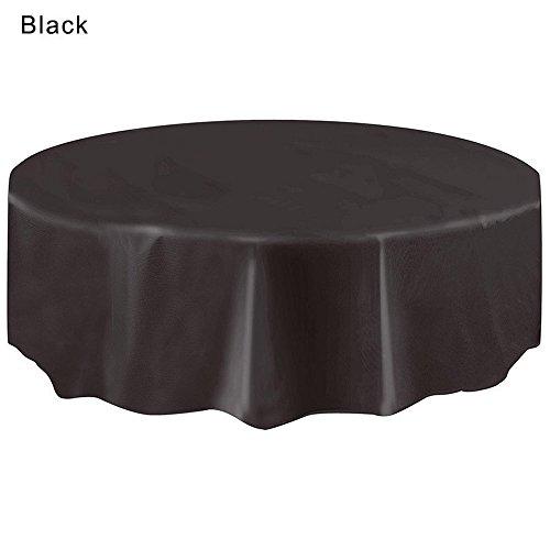 MOIKA Nappe Jtable Blanche Nappe De Table Ronde Couleur Unie Vacances FêTe Moderne Style Simple Nappe Transparente(Noir,2.13M)