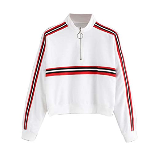 OYSOHE Damen Sweatshirt,Langarm Reißverschluss Streifen Rollkragen Pullover Bluse(Weiß,XXL)