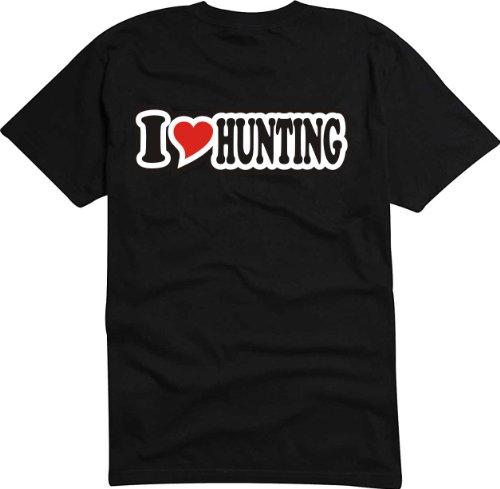 T-Shirt Herren - I Love Heart - I LOVE HUNTING Schwarz
