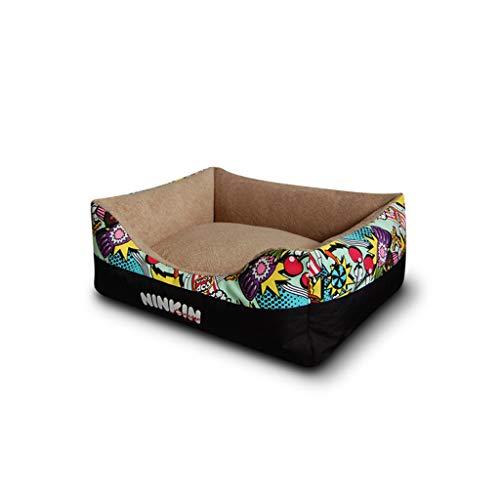 PLDDY Hundebett, Premium-Plüsch-Hundebett, Brown Super Soft Short Plüsch und Canvas, voll waschbar, extrem weich und bequem - der ultimative Luxus für kleine und mittlere Haustiere (größe : L)