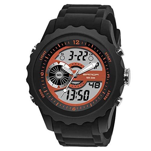 HHyyq Digital-Armbanduhr für Herren, Herren, wasserdicht, Militär-Uhren, legere elektronische Uhr mit Alarm/Timer Outdoor-Sport-Armbanduhr für Männer und Jugendliche(Orange) -