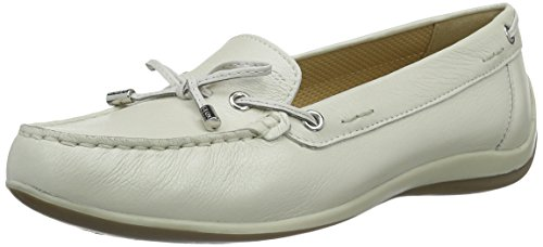 Geox D Yuki A, Mocasines Mujer, Blanco Off White