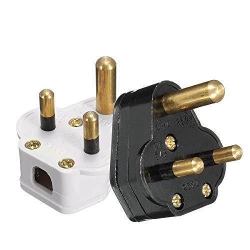 GIlH 250V 5A Universal Round 3Pin Plugs Black White Wall Sockets -