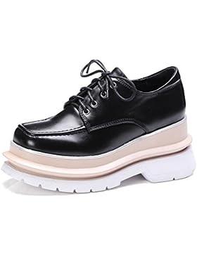 Beauqueen Ascensor Mocasines Plata De Cuero De Ronda-Toe Oficina Ocasional Partido Vintage Zapatos UE Tamaño 34...