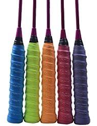E-teng - Grip, mango para tenis y raqueta de bádminton, 5 piezas, suave pu, absorbe la humedad y antideslizante