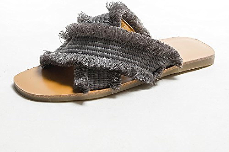 DYY Pantofole rosse nette, scarpe piatte da indossare alla moda, sandali con intreccio incrociato estivo 2018,... | Consegna ragionevole e consegna puntuale  | Uomini/Donne Scarpa
