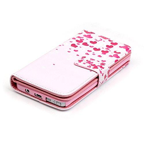 Samsung Galaxy Note 5 Hülle, SainCat Ledertasche Brieftasche im BookStyle PU Leder Muster Hülle Wallet Case Folio Schutzhülle Bumper Handytasche Backcover Handy Tasche Flip Cover Buchstil Klapptasche  Pink Love