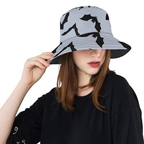 Zemivs Black Night Bat Sommer Unisex Angeln Sun Top Bucket Hats für Kid Teens Frauen und Männer mit Packable Fisherman Cap für Outdoor Baseball Sport Picknick