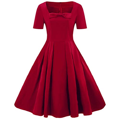 Luckycat Damen Plus Größe Kurzarm Vintage Dress Feste Bogen Retro Flare Dress Abendkleider Cocktailkleid Partykleider Blusenkleid Mode 2018