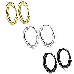 Idea Regalo - Orecchini a chiodo in acciaio inox con tungsteno Orecchini a orecchini in acciaio con tondo nero Orecchini a cerchio (3 pair)