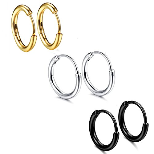 3 Stainless Steel Couple Mens Womens Hoop Earring Cartilage Lip Earrings for Girl Helix Tragus Piercing Nose Hoops 18G for Men Womens Hoop Earrings 12MM