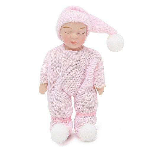 SODIAL 1: 12 Skala Puppenhaus Miniatur Menschen Figuren Porzellan Puppen schlafen Baby Geschenk