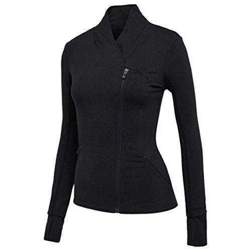 Dooxi Donna Casual Maniche Lunghe Jogging Fitness T-shirt Tops Fast Dry Traspirante Palestra Yoga Sport Cerniera Giacche Nero