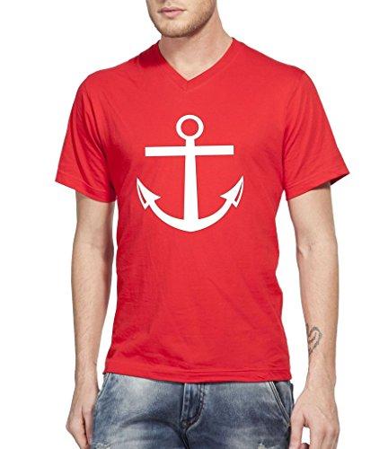 Clifton Mens Printed Half Sleeve V-neck T-shirt -Bright Red -7XL