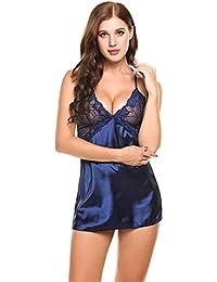 Lucyme Sexy Mujer Ropa Interior Mujer Sexy Conjuntos Vestido Halter Pijama
