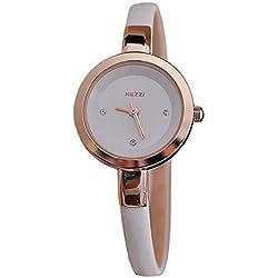 Kezzi Damen Armbanduhr Smart Analog Quarz weiß / rosegold jw360