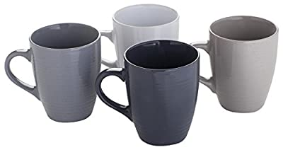 Sabichi 178800 Grey Value Textured Stoneware 4pc Coffee Mug Set, 13oz Capacity from Sabichi