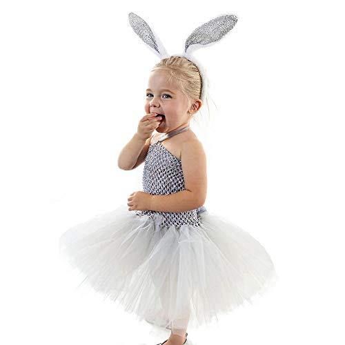 en Maskottchen Osterhase Kleid Ohren Kinder Mädchen Kleider Halloween Ostern Festival/Urlaub Tüll Chinlon Grau Karneval Kostüme Patchwork Bezaubernd (Color : Gray, Size : 100cm) ()