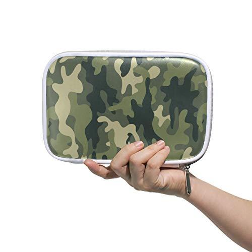 Camo Camouflage Green Mehrere Große Leder Bleistift Stift Taschen Beutel Reise Kosmetiktasche Passport Wallet mit Reißverschluss - Camo Leder Stift